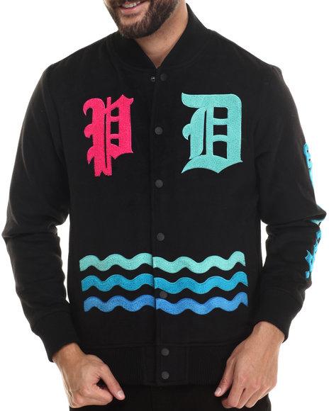 Pink Dolphin - Men Black Wavelordz Varsity Wool Jacket