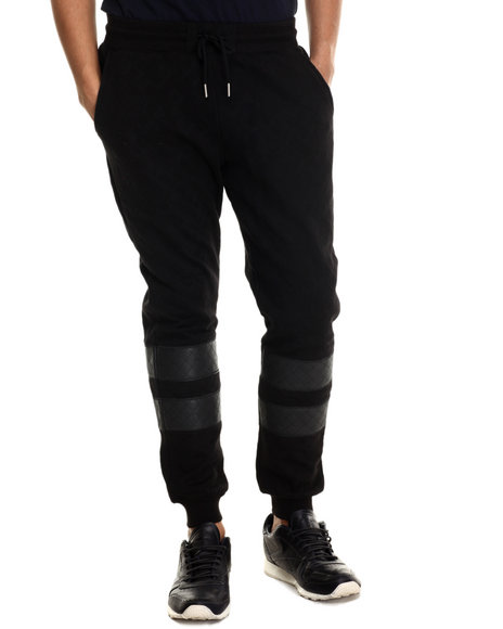 Ur-ID 212806 Pink Dolphin - Men Black Quilted Cross Jogger