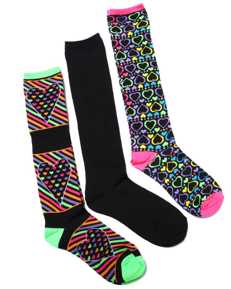 Drj Sock Shop Women Multi Hearts 3Pk Knee High Socks Multi 9-11