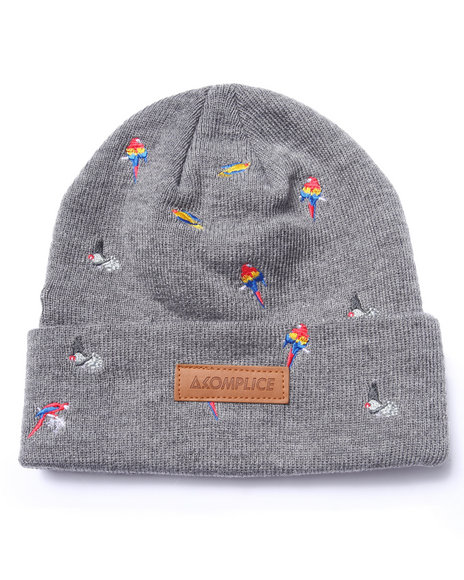 Akomplice Men Bird Embroidered Beanie Grey - $32.00