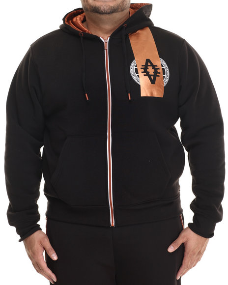 Akademiks - Men Black Oleri Full Zip Copper Trim Hoody (B&T) - $65.00