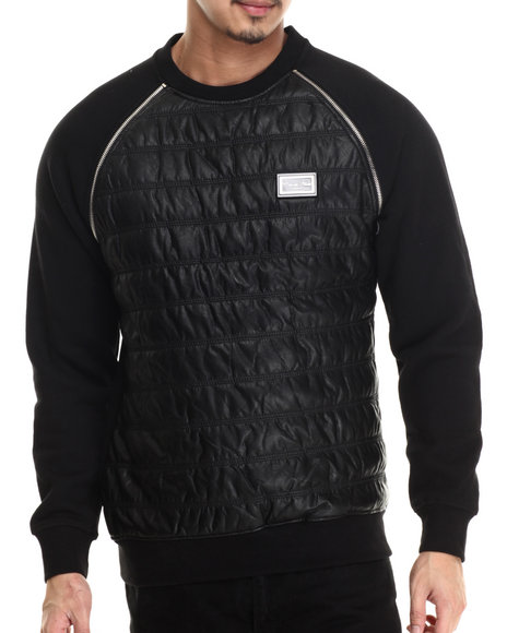 Cote De Nuits - Men Black Mixed Media Faux - Leather Raglan Sweatshirt W/ Zipper Detail