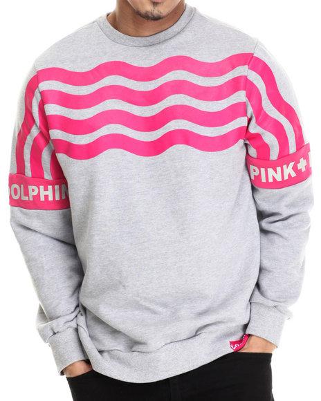 Pink Dolphin - Men Grey Stripe Crewneck Sweatshirt