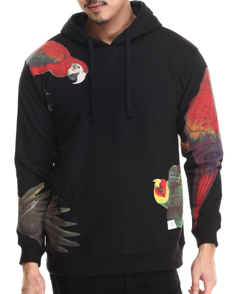 Akomplice - Men Black Samba Bird Pullover Fleece Hoodie