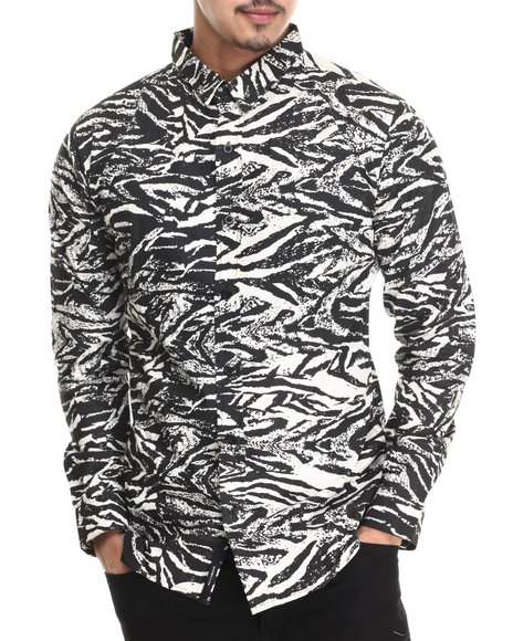 Akomplice - Men Black,White Zebra L/S Button-Down - $61.99