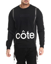 Cote De Nuits - French Terry Crewneck Sweatshirt w/ Nylon Sleeves and Long Zippers
