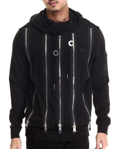 Cote De Nuits - Men Black Multi-Zipper Ponte Jersey Overlapper Hoodie - $78.99