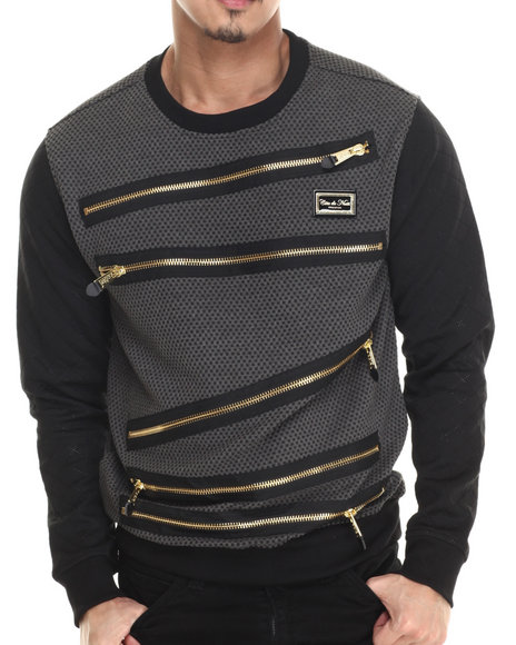 Cote De Nuits - Men Charcoal Poly Check Crewneck Sweatshirt W/ Zippers - $86.99