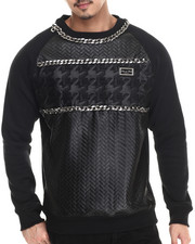 Cote De Nuits - Chain - Trimmed Mixed Media Quilted Crewneck Raglan Sweatshirt