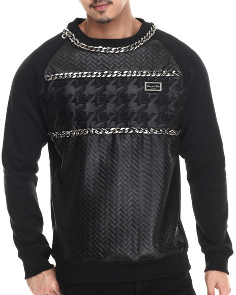 Cote De Nuits - Men Black Chain - Trimmed Mixed Media Quilted Crewneck Raglan Sweatshirt