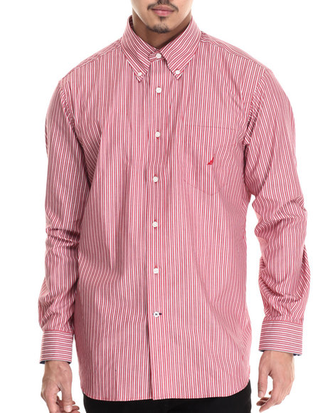 Nautica - Men Red Poplin Multi L/S Button-Down