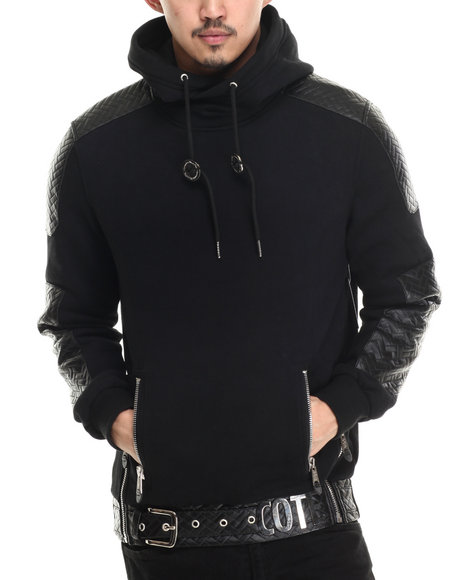 Cote De Nuits - Men Black Cote Signature Peached Fleece Pullover Mixed - Media Hoodie W/ Nylon Quilting - $88.00