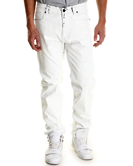 Cote De Nuits - Men White Cracked Splatter 5 - Pocket Denim Jeans