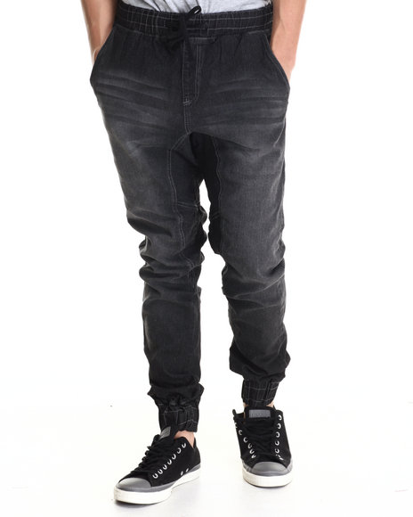 Basic Essentials - Men Black Denim Jogger Pant W/Drawstring Waist