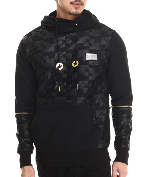 Cote De Nuits - Men Black Textured Faux - Leather Pullover Hoodie W/ Detachable Sleeves