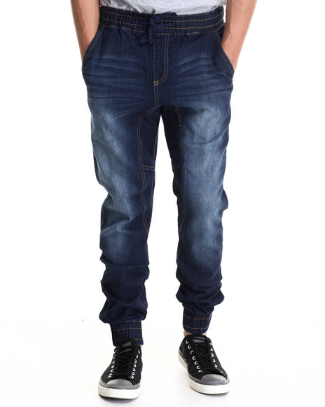 Basic Essentials - Men Indigo Denim Jogger Pant W/Drawstring Waist