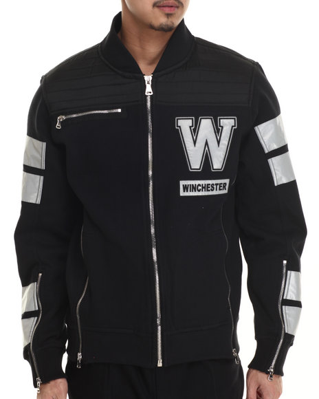 Winchester - Men Black Winchester Oxford Nylon 3M Moto Sport Jacket