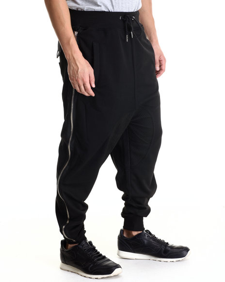 Cote De Nuits - Men Black Mixed Fabric Harem Joggers