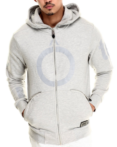 Ur-ID 212836 Cote De Nuits - Men Grey French Terry Full - Zip Hoodie