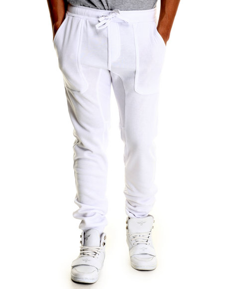 Basic Essentials - Men White Fleece Jogger Pant W/Drawstring Waist
