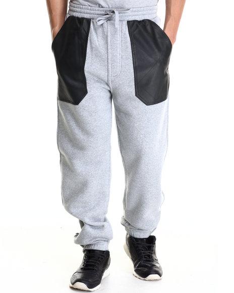 Basic Essentials - Men Light Grey Pu Combo Draw-String Fleece Pant - $36.00