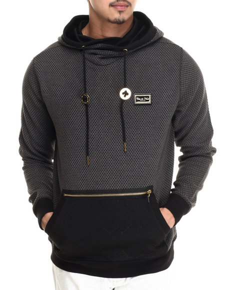 Cote De Nuits - Men Charcoal Poly Check Pullover Hoodie