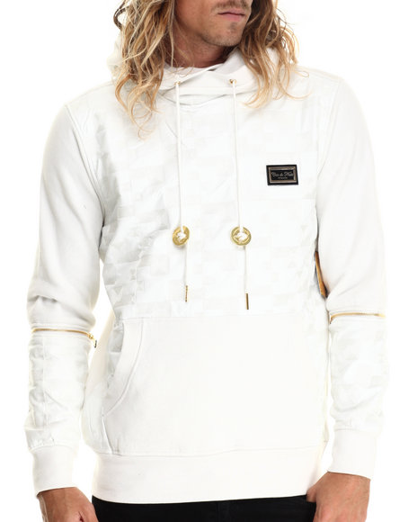 Cote De Nuits - Men White Textured Faux Leather Pullover Hoodie W/ Detachable Sleeves