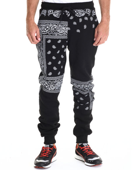 Ur-ID 222953 Basic Essentials - Men Black Paisley Print Fleece Pant