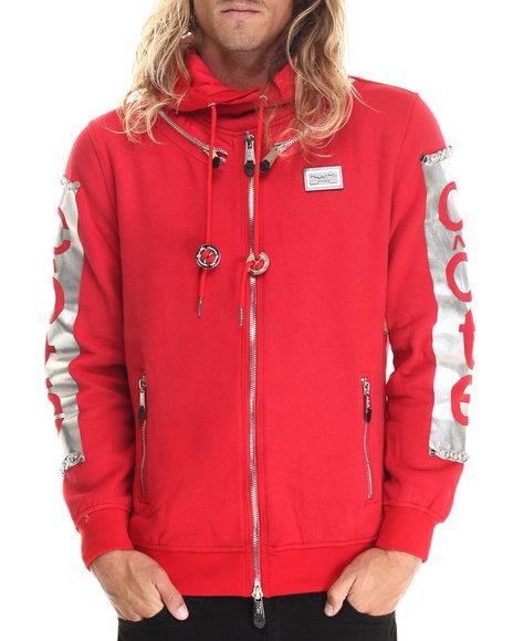 Cote De Nuits - Men Red Faux - Zipper Chain - Trimmed Pullover Hoodie - $68.99