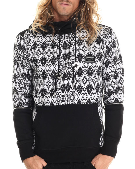 Cote De Nuits - Men White Jacquard - Knit Pullover Hoodie W/ Detachable Sleeves