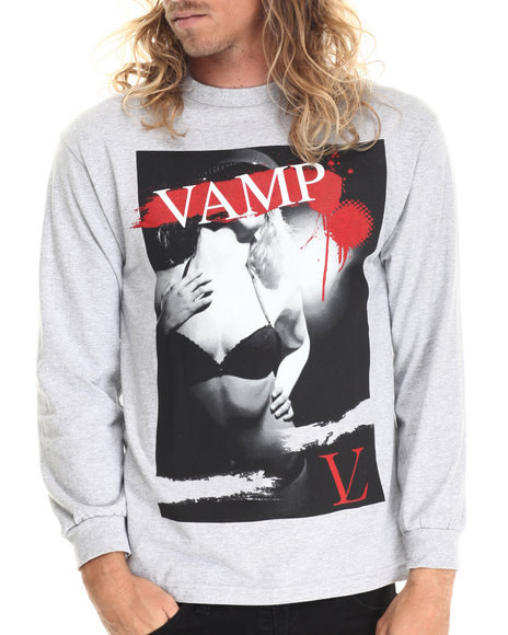 Ur-ID 212863 Vampire Life - Men Grey Vamp Lady L/S T-Shirt