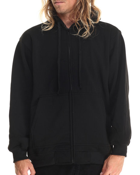 Ur-ID 212864 Basic Essentials - Men Black Zip-Up Fleece Hoodie