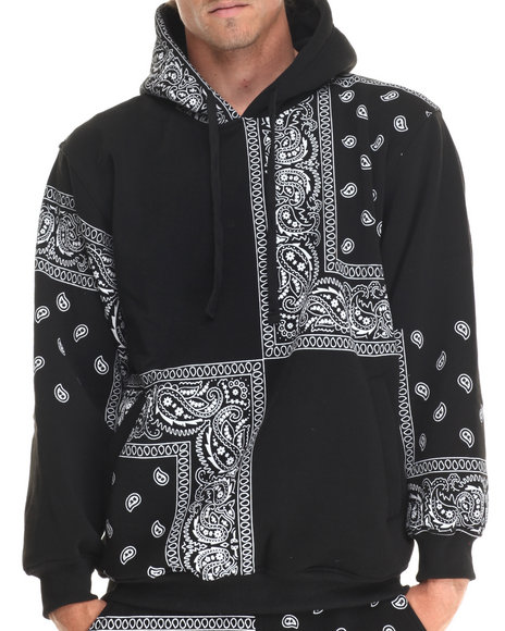 Basic Essentials - Men Black Paisley Print Fleece Hoodie