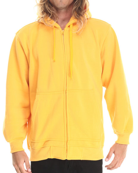 Ur-ID 212869 Basic Essentials - Men Gold Zip-Up Fleece Hoodie