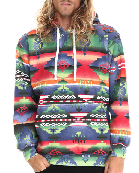 Basic Essentials - Men Multi Aztec Print Fleece Hoodie