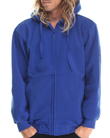 Basic Essentials - Men Blue Zip-Up Fleece Hoodie - $19.99