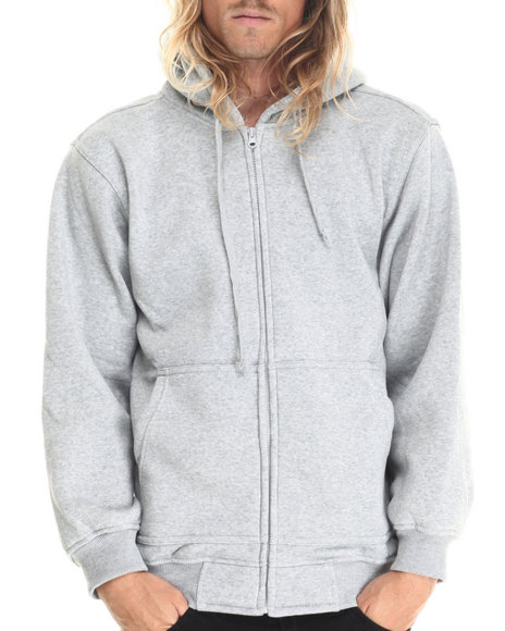 Ur-ID 212879 Basic Essentials - Men Grey Zip-Up Fleece Hoodie