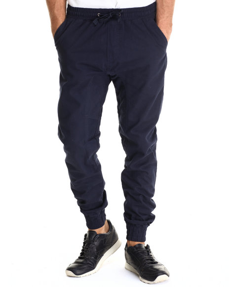 Basic Essentials - Men Navy Twill Jogger Pant W/Drawstring Waistband