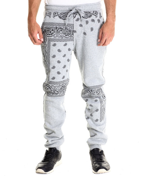Basic Essentials - Men Light Grey Paisley Print Fleece Pant
