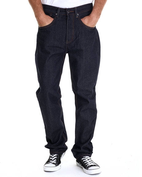 Basic Essentials - Men Dark Wash 5-Pocket Raw Denim Jean