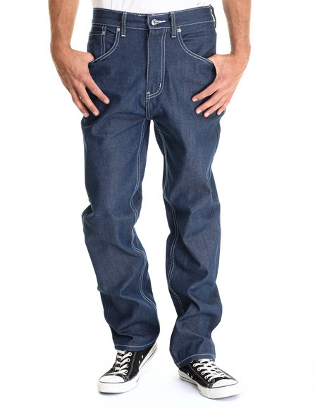 Basic Essentials - Men Medium Wash 5-Pocket Raw Denim Jean