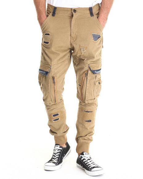Heritage America - Men Wheat Denim - Trimmed Cargo Pants