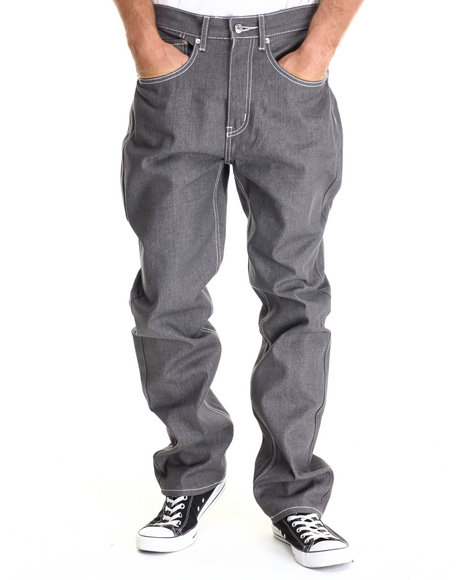 Basic Essentials - Men Light Grey 5-Pocket Raw Denim Jean - $32.00