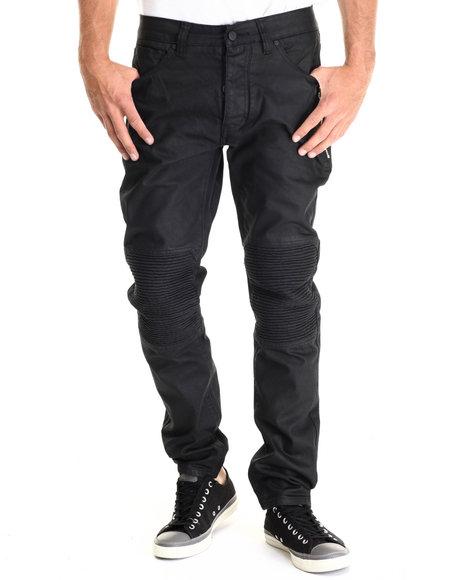 Cote De Nuits - Men Black Moto - Stitch 5 - Pocket Denim Jeans