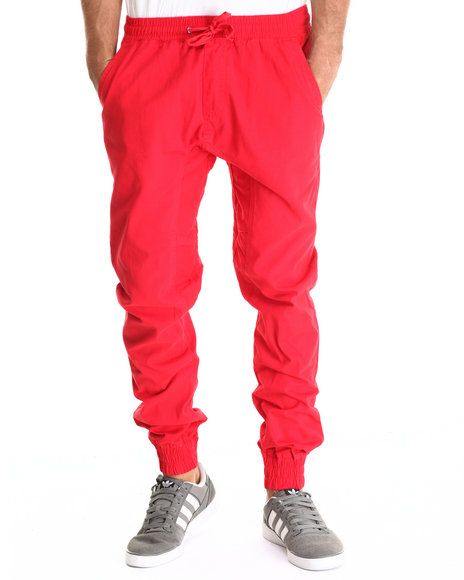Basic Essentials - Men Red Twill Jogger Pant W/Drawstring Waistband