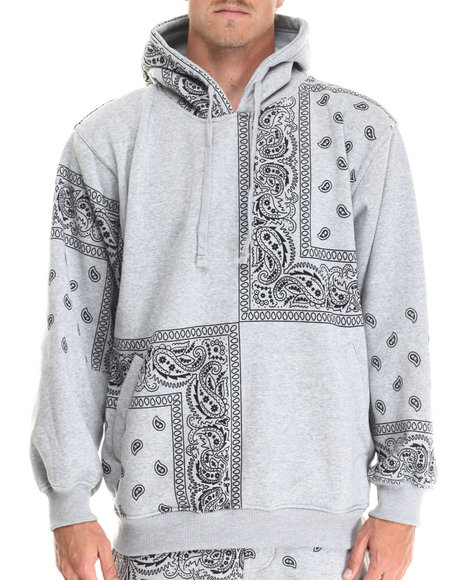 Ur-ID 212875 Basic Essentials - Men Light Grey Paisley Print Fleece Hoodie