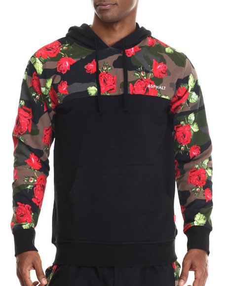 Asphalt Yacht Club - Men Black Floral Camo Fleece Hoodie