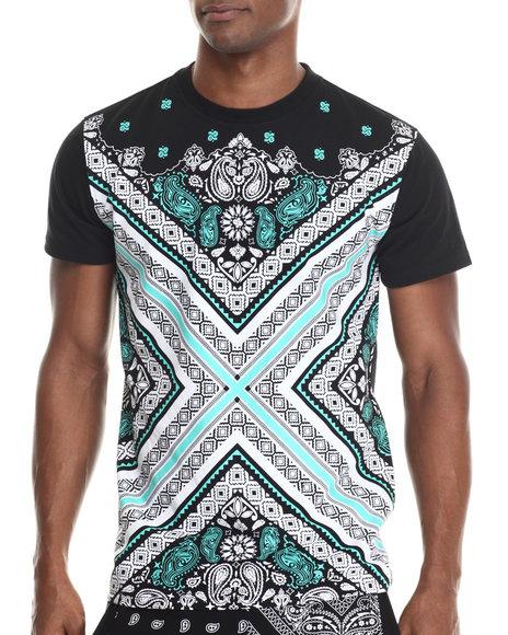 Buyers Picks - Men Black Bandana Fashion Treated S/S Tee (E-Longated Detail)