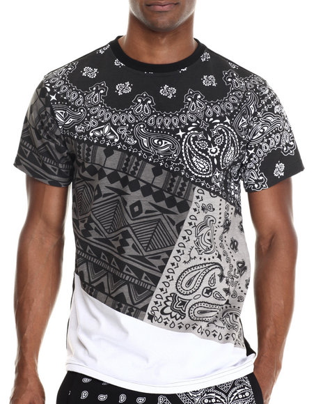 Buyers Picks - Men Black Mix'd Pattern Print S/S Tee (E-Longated Detail)