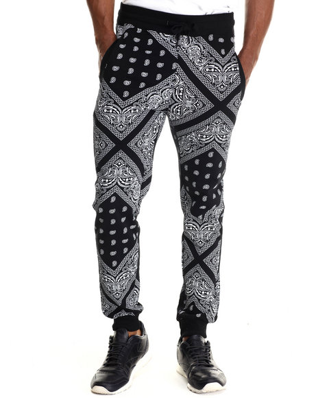 Ur-ID 212912 Buyers Picks - Men Black Bandana Print Drawstring Sweatpants
